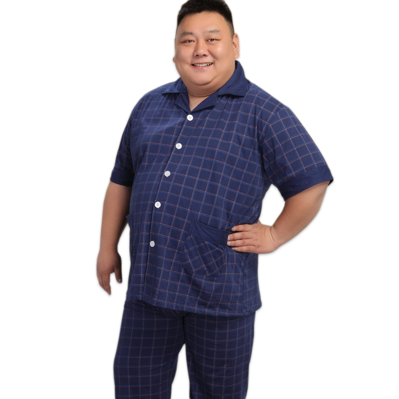 140KG 5XL home men cotton set pajamas summer short sleeve 100 cotton pajama sexy pijamas homens