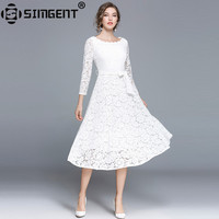 Simgent Party Dress Woman Autumn Slash Neck Lace Hollow Out Office Casual Long Elegant Dresses Vestido