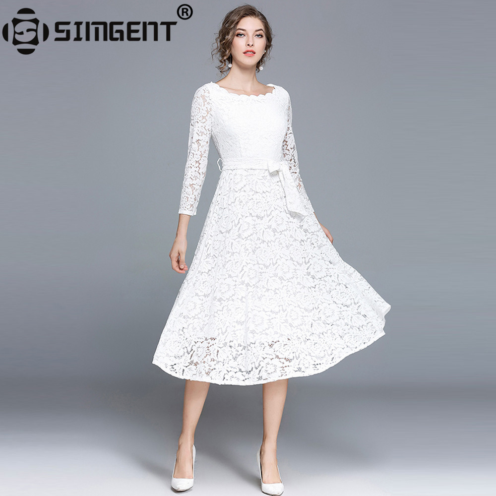 Simgent Party Dress Woman Autumn Slash Neck Lace Hollow Out Office ...