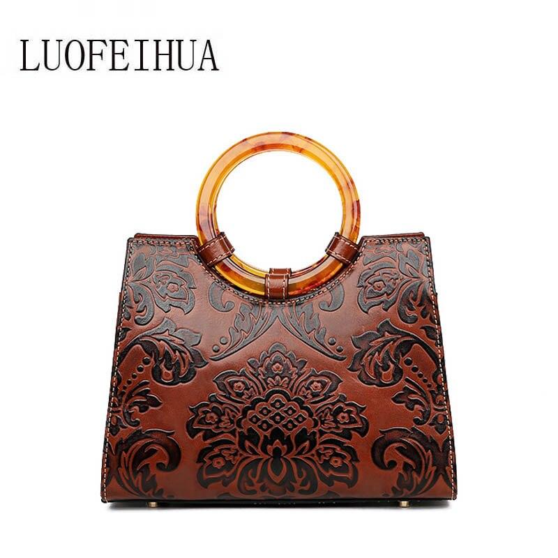Geprägte Stil Designer red Ethnischen Luofeihua Leder Brown 2019 Neue Vintage Luxus Handtasche tCwR8q