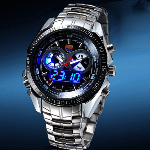 Hot TVG Male Sports Watch Men Full Stainless Steel Vattentät Quartz - Herrklockor - Foto 4