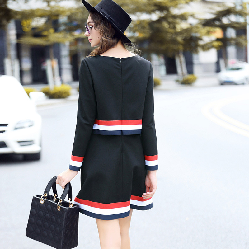 Ouyalin Taille Lady Plus Rayé Robes La Bureau 5xl Patchwork Robe 2017 Travail L 3xl Style Piste British 4xl D'hiver Femmes A1wqrpYSAZ