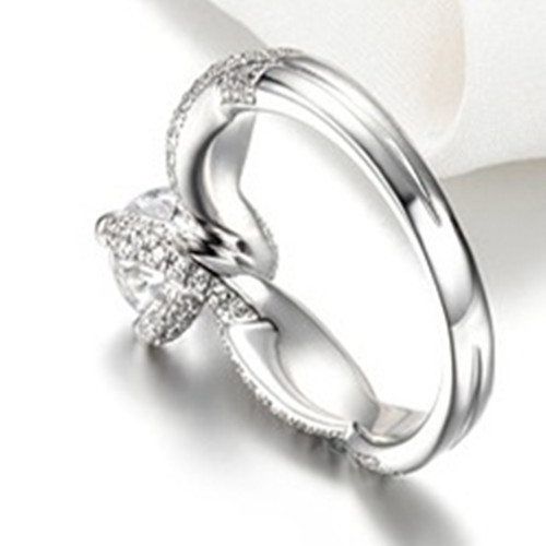 Оригинальность ювелирные 2CT Тесты Муассанит 750 белое золото твердого Муассанит Обручение кольцо для Для женщин 18-каратного золота