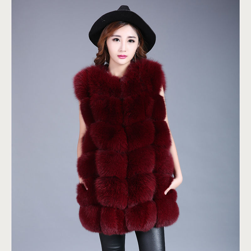 Real Fox Fur Vest 2017 new women warm winter fox fur vest dress Russia's real natural fur coat jacket