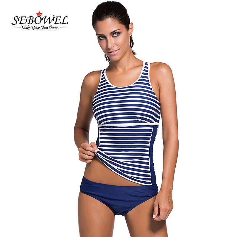 Plus Size Women Super Padded Swimwear Bikini Set Mesh Vest Top 2017 New Black Stripe Tankini Swimming Suit Shorts S-3xl Pretty And Colorful Swimming