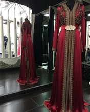 Beaded Burgundy Moroccan Kaftan Long Sleeves Satin Hijab Modest Muslim Evening Dresses Long Formal Gown abendkleider