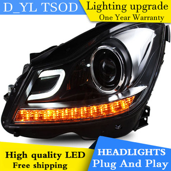 D_YL Car Styling for W204 C180 C200 C260 Headlights 2007-2013 W204 LED Headlight DRL Lens Double Beam H7 HID Xenon bi xenon lens