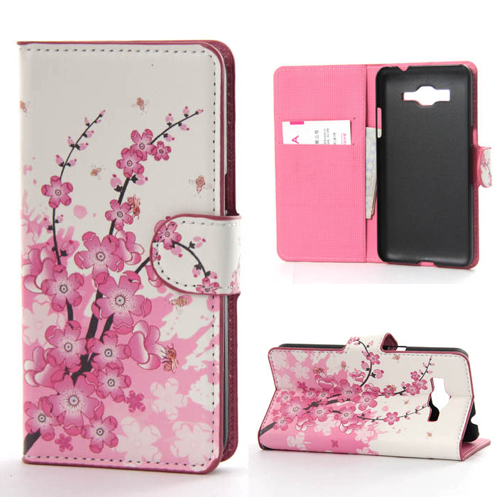 online store 0aed7 3abd2 US $7.69  Bee Pink Plum Flower Leather Flip Wallet Stand Pouch Cover Case  For Samsung Galaxy Grand Prime G530 G530H G5308W on Aliexpress.com    Alibaba ...