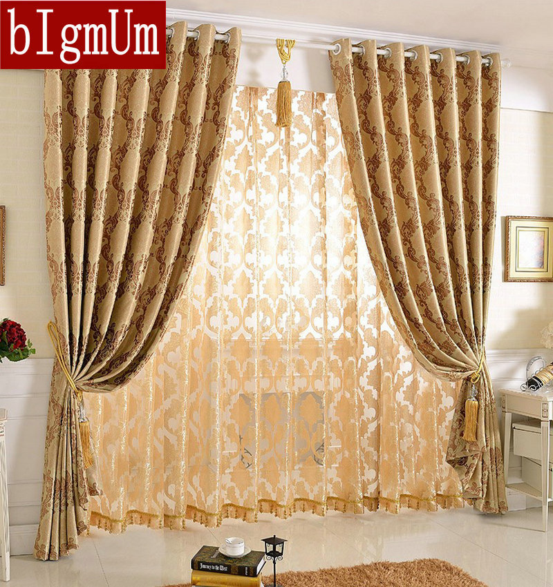 New Arrival Jacquard Floral Curtains For Bedroom Living Room Blackout Nice Pattern European Style Double