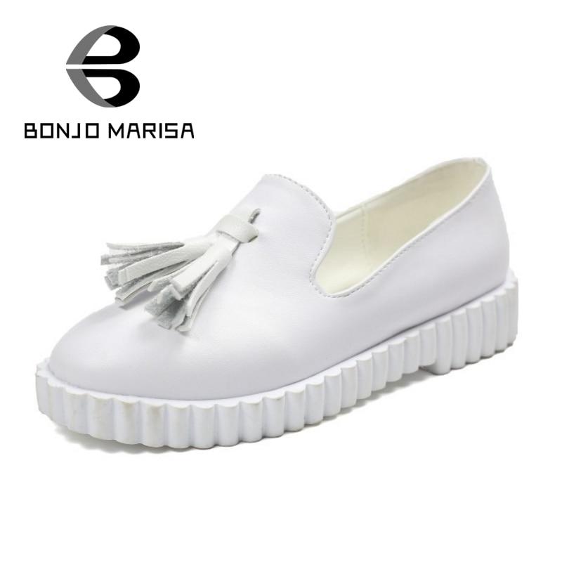 ФОТО BONJOMARISA Brand Designer Women Casual Flat Shoes Woman Little Tassel Fringe Shoes Slip On Shallow Flats