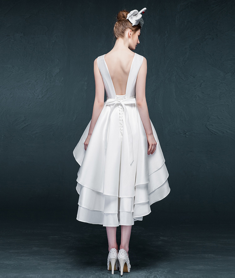 Fast Shipping Short Front Long Back Wedding Dresses 2015 Open High Low Bridal Gown Tiered Satin Vestidos De Noivas ZZB24 In From