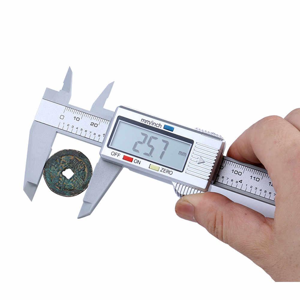 150Mm/6 Inci LCD Digital Elektronik Serat Karbon Vernier Caliper Gauge Micrometer Multifungsi Mengukur Alat Tangan Set #30