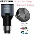 Fineblue F-458 2 En 1 Controlador Inalámbrico Sigilo Auriculares Audifonos Auricular Monoaural Auricular Bluetooth Cargador de Coche para el Teléfono