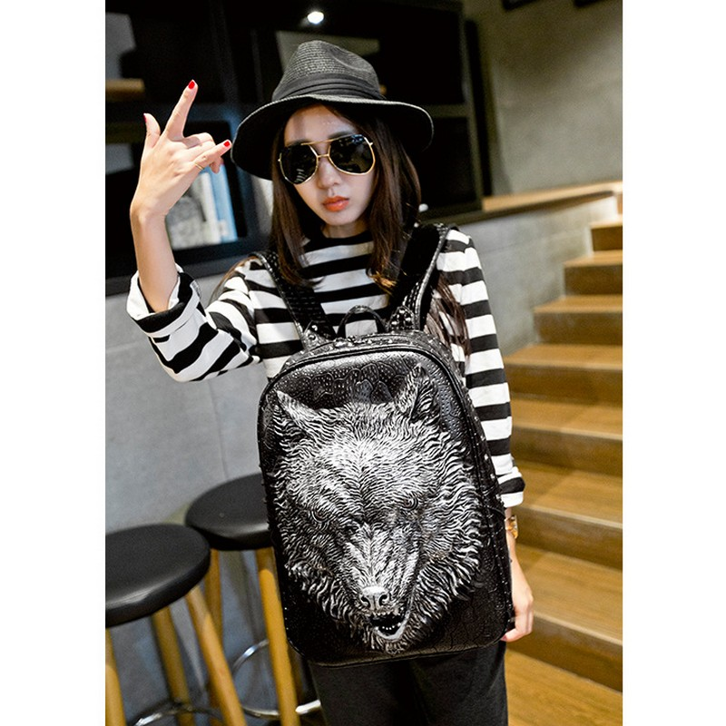 ФОТО 2016 Fashion Personality 3d Skull Wolf Leather Backpack Rivets PU leather laptop school bags l Backpack With Bag Rugzak Bags