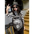 2016 Fashion Personality 3d Skull Wolf Leather Backpack Rivets PU leather laptop school bags l Backpack With Bag Rugzak Bags
