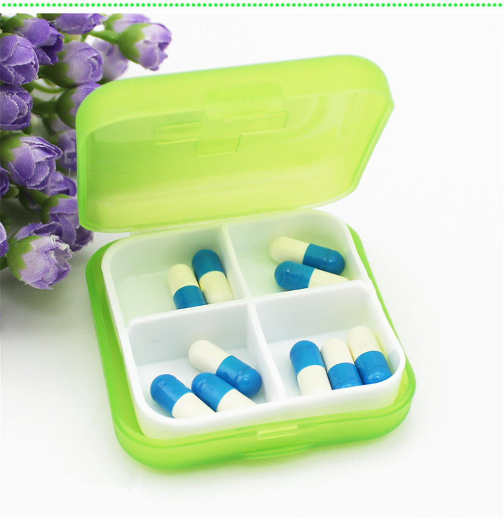 Medicine-Boxes Tablet Drugs Empty-Container Home-Holder Medical Mini Cases Travel 4-Grids