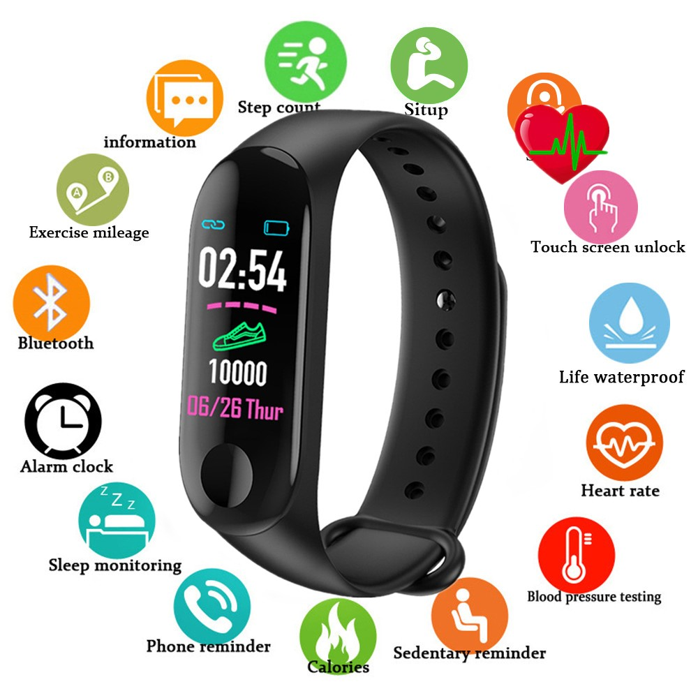 Doolnng M3 Plus Bracelet intelligent Bluetooth sport Fitness Tracker Bracelet intelligent sommeil sain tension artérielle moniteur de fréquence cardiaque