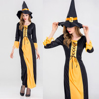 2017 Women Halloween Party Props Cosplay Witch Dress Adult Halloween Costume Hat Halloween Costume For Party