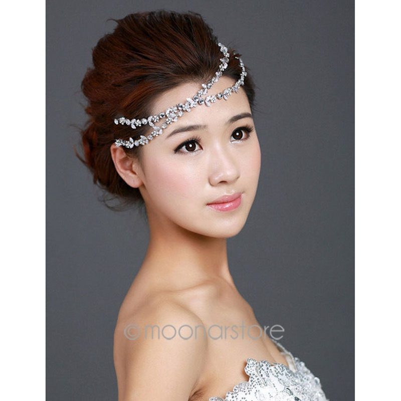 Lady Silver Elastic Rhinestone Diamond Headbands Wedding Bridal Flower  Headband Women Hairbands Headwear Head Band Head Chain-in Women s Hair  Accessories ... 9b48911d7e4