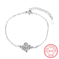 Ann Snow 2017 Lovely Lucky Leaf CZ Crystal 925 Sterling Silver Bracelets For Women Charm Jewelry