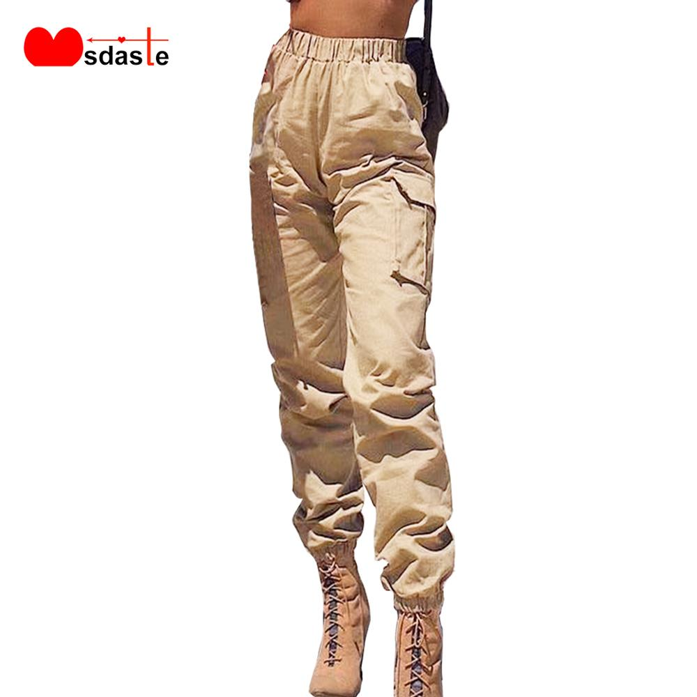 Cargo   Pants   Women Streetwear Casual High Waist Loose Solid Loose Female Trousers Bow Tie Pockets Ladies   Pants     Capri