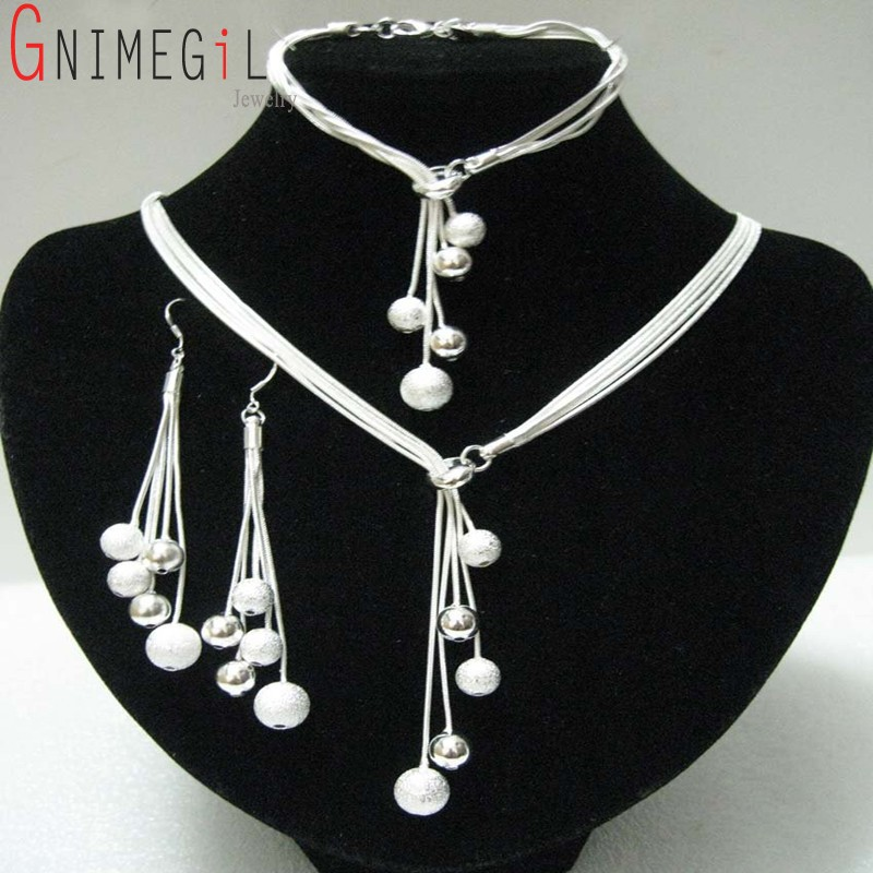 GNIMEGIL Women's Jewelry Polished Finished Bracelets Y-shape Necklaces Drop Earrings Silver Plated Beads African Jewelry Sets 2017 african wholesale round silver plated rhinestone with square shape earrings jewellery sets for women