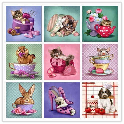 5d diy diamond cross stitch animal cat rabbit round diamond embroidery cartoon animal diamond mosaic childrens educational gift