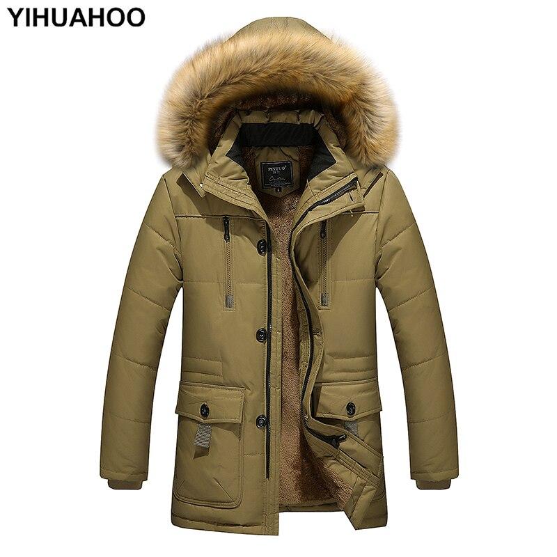 YIHUAHOO Winter Jacket Men 4XL 5XL Windproof Cotton Thick Warm   Parka   Coat Casual Fur Hooded Fleece Male Jacket Windbreaker Men