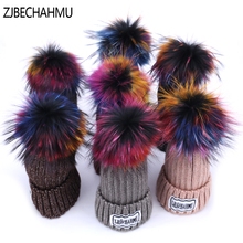 ZJBECHAHMU Hats Fashion Winter Fox Fur Pompoms 15cm Skullies Beanies Hat Caps Women Girls Sping Wool Warm New Snapback 2018