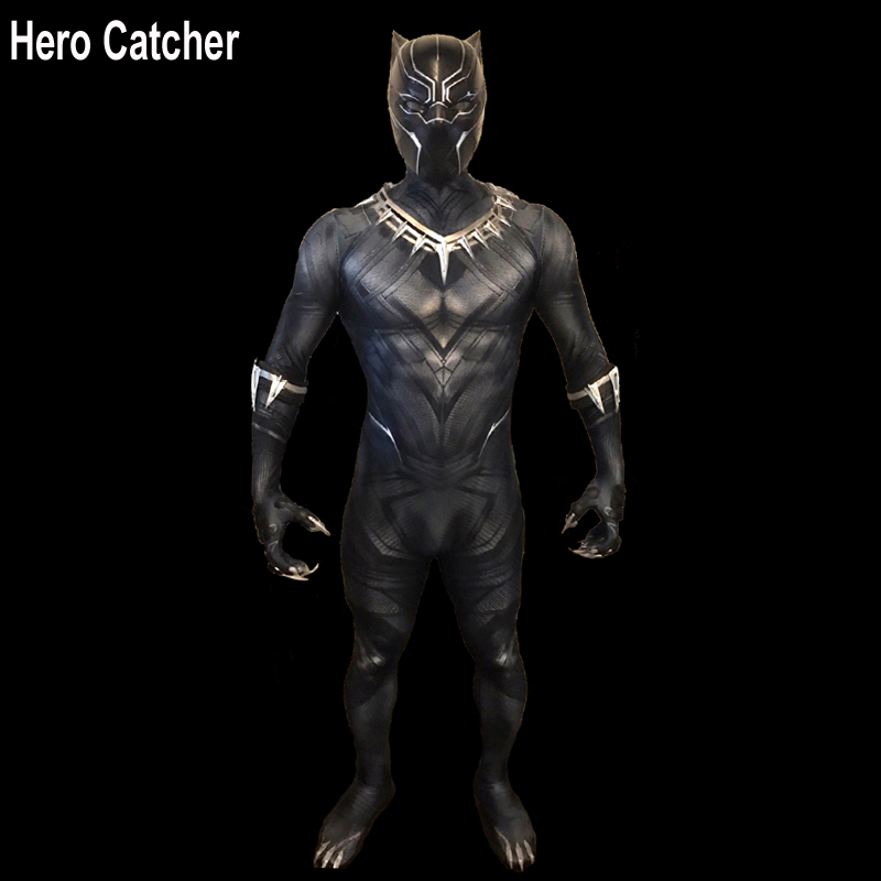 Hero Catcher Top Quality Civil War Black Panther Cosplay Costume With Details Newest Black Panther Spandex Costume With Paw