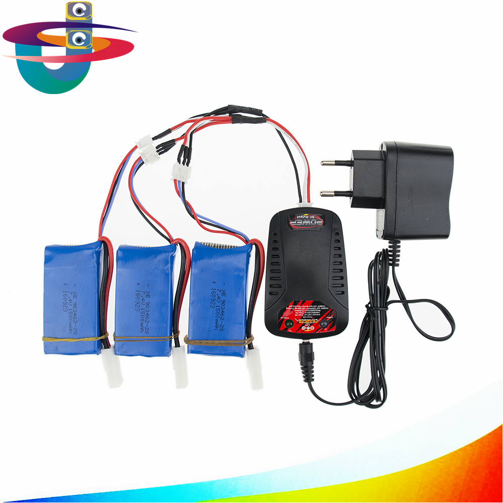 7.4v 1500mah Lipo battery batteries 3pcs and charger for Feilun FT009 2.4G RC Racing boat Spare Parts wholesales lipo battery 7 4v 2500mah for mjx f45 f645 t23 rc parts helicopter battery can add 3in1 charger f45 22 extra spare toys