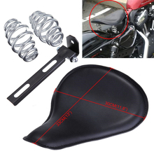 Black Motorcycle Deep Dish Black PU For Custom Harley Chopper Bobber Solo Seat With Mounting Kit Comfortable Springs