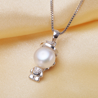 25 Silver Monkey King Sun Wukong Pendants 8 9mm Semi Round Real Freshwater Pearl Pendants Necklace