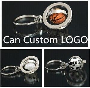 360 stopni obrót breloczek piłka breloczek metalowy klucz zawieszki Charms koszykówka piłka nożna golf brelok do kluczyków samochodowych prezent własne LOGO