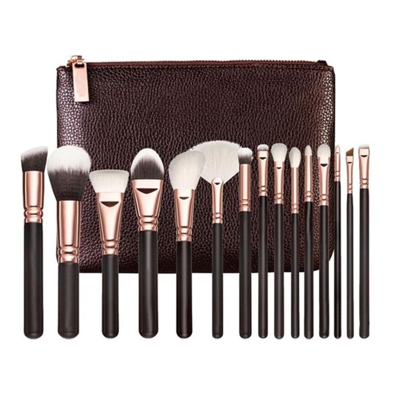2017 15PCS Professional Powder Foundation Eyeshadow Makeup brushes set Cosmetics Complete Eye Kit+Cosmetic Case Pincel maquiagem