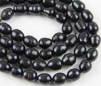 Natural Freshwater Pearl Bead Strands 9 10MM Black Color Rice Loose Pearl Beads Wholesale Jewelry Free