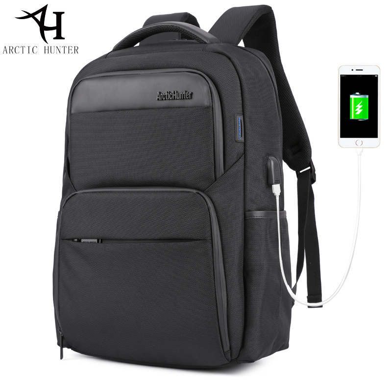 ARCTIC HUNTER 15.6inch Laptop Backpacks Male USB Charge bag men Casual travel Nylon & PU leather Patchwork back pack for teenage arctic hunter 2017 chest bag for men usb
