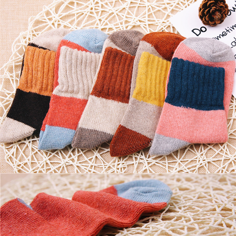 5pairs /lot Cotton Wool compression Thick Socks for Women Girl Cute Creative Soft Sock spring winter cashmere women WS018