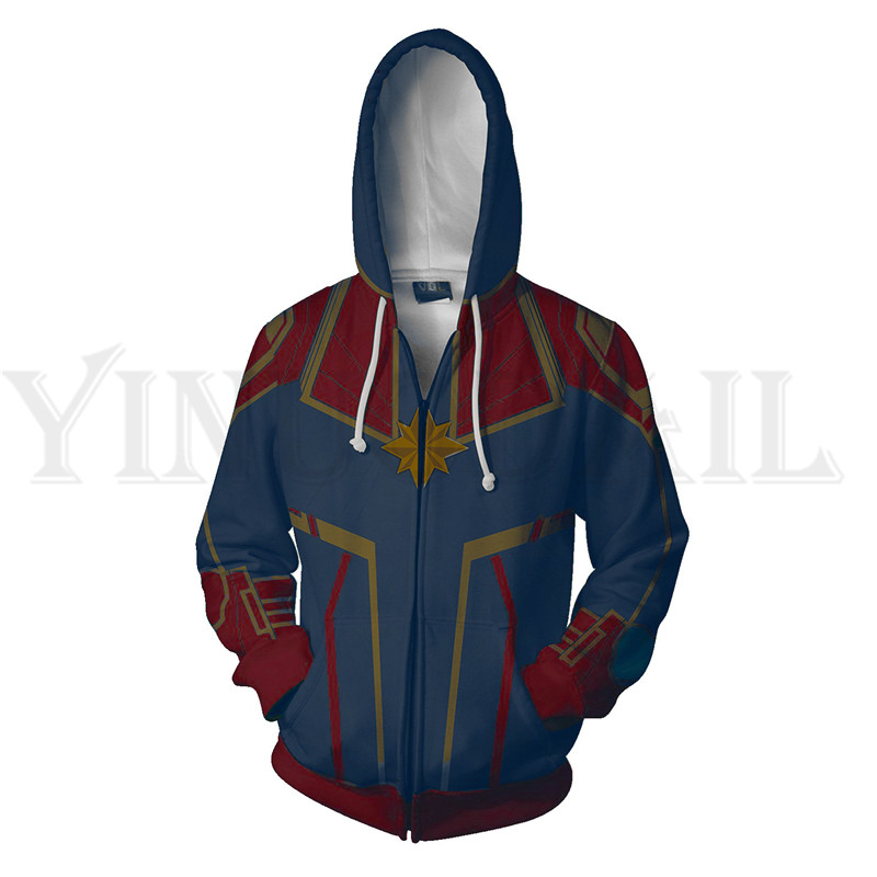 Men And Women Zip Up Hoodies The Avengers 4 Hooded Jacket Captain Mravel Superheroes Sweatshirt Streetwear Cosplay Costume