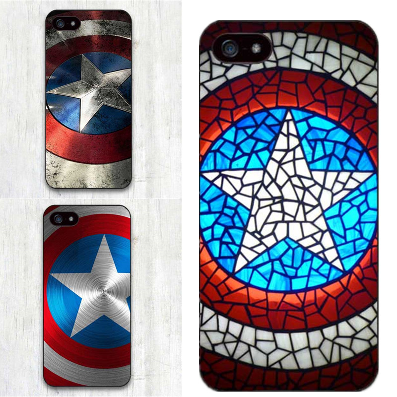 low priced e5b29 f3559 US $1.19 40% OFF|Aliexpress.com : Buy Marvel Hero Captain America Black  Hard PC Phone Cover Case For Apple iphone SE 4 4S 5 5S 5C 6 6S Plus 7 7Plus  8 ...