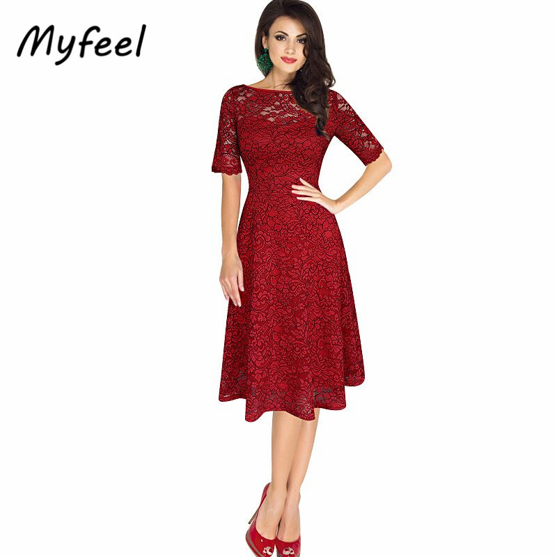Myfeel Women Night Dinner Dresses Summer Slash Neck Short Sleeve Knee Length Y Elegant Lace Office Red Dress High Quality In From S