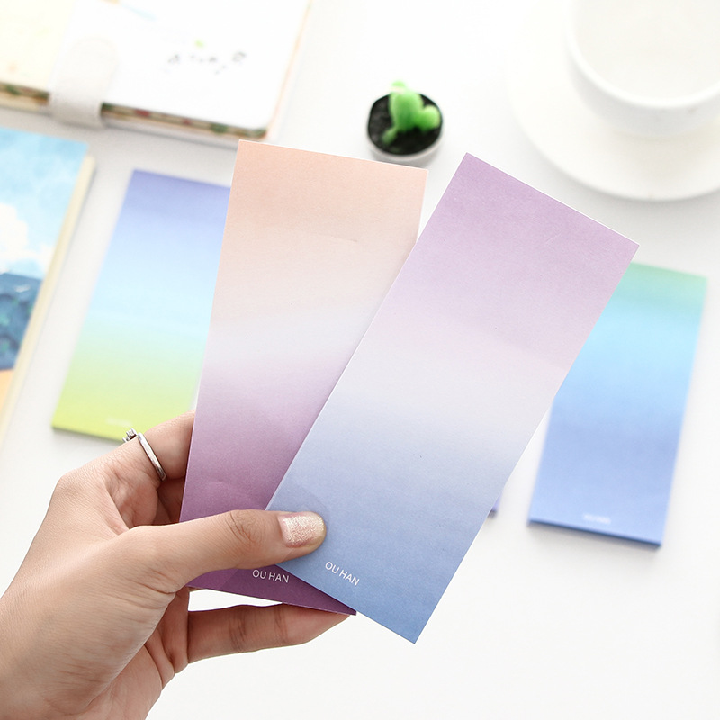 1pc Gradient Memo Sticker Sticky Note Creative Label Sticker Office Supplies