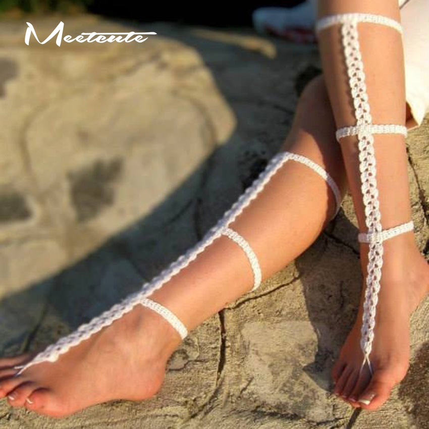 Meetcute Women New Unique Design Beach Wedding Jewelry Sandals Bohemian Style Cotton Knitted Braid Anklets
