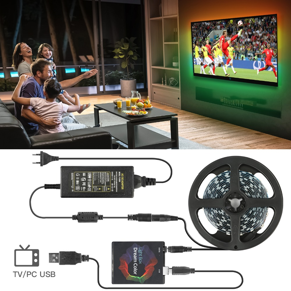 Addressable WS2812B LED Strip Ambilight Full Set USB LED Strip TV PC Back Lighting Dream Screen Computer Monitor 1/2/3/4/5m