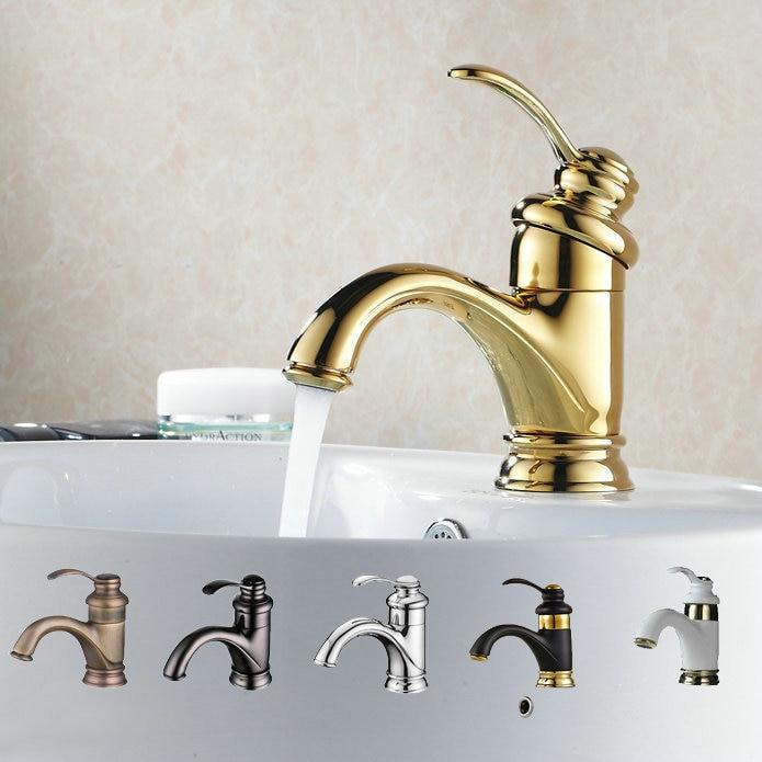Robinet de salle de bain Antique or/noir/argent robinet de lavabo en laiton poli robinet de lavabo lavabo