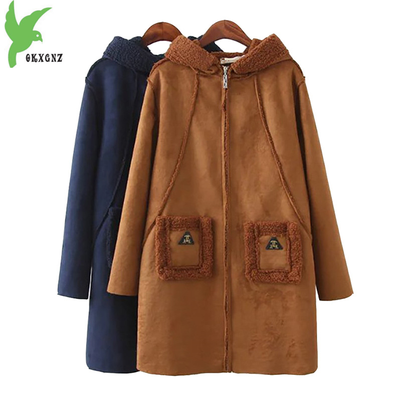 New Winter Women Faux Suede Coats Fashion Plus Size Fat Sister Warm Clothing Solid Color Hooded Casual Tops Cotton Jacket OKXGNZ winter women s cotton jackets new fashion hooded warm coats solid color thicker casual tops plus size slim outerwear okxgnz a735
