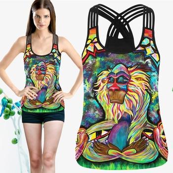Kadın spor Tank Top egzersiz aldırma Hollow Out kolsuz kadın gömlek yelek yuvarlak boyun çapraz tasarım bayanlar ince elbise
