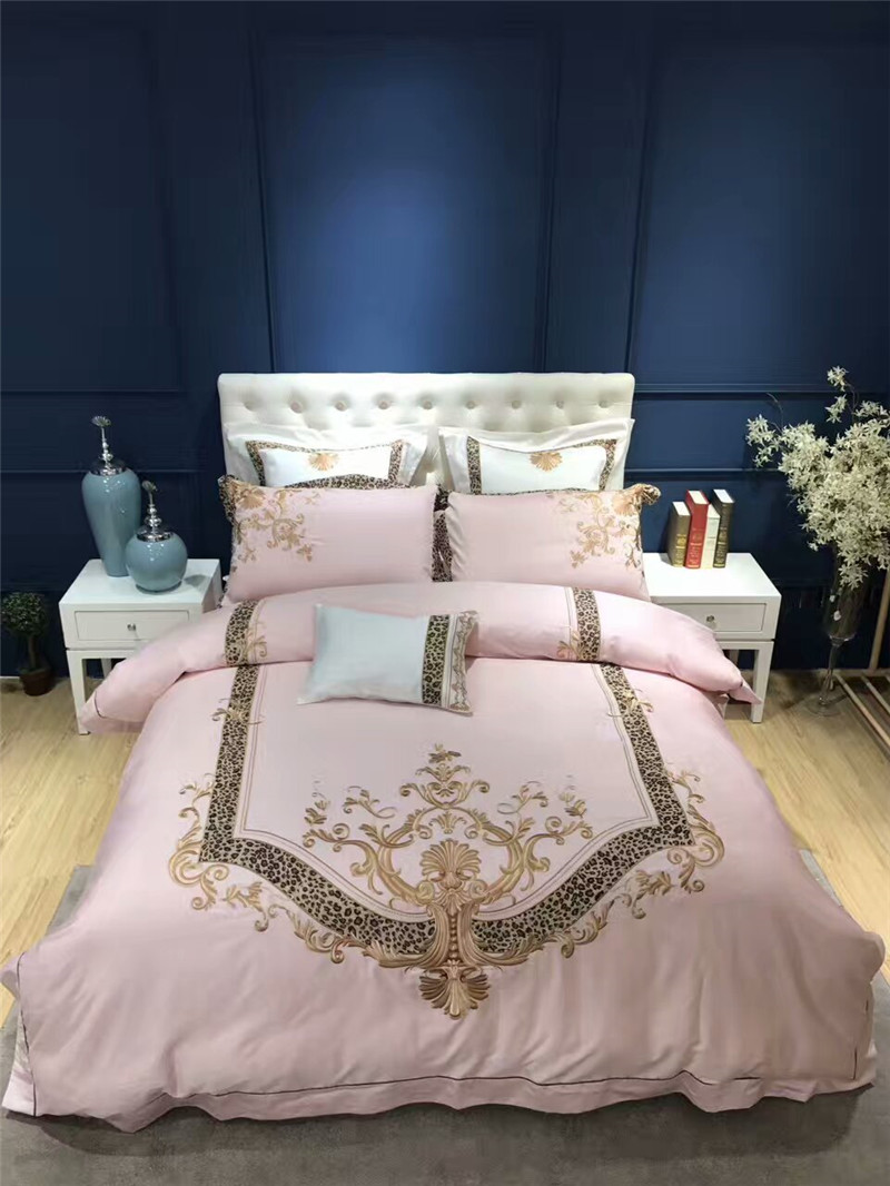 Luxury Egyptian cotton gold embroidery Pink lady style bedding sets queen king size wedding duvet cover