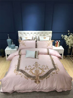 Luxury Egyptian cotton gold embroidery Pink lady style bedding sets queen king size wedding duvet cover bed sheet set pillowcase