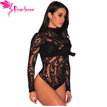 Dear-Lover Bodysuits Women Rompers Skinny Jumpsuits Autumn Sexy Party Black Sheer Mesh Print Button Long Sleeve Bodysuit LC32110